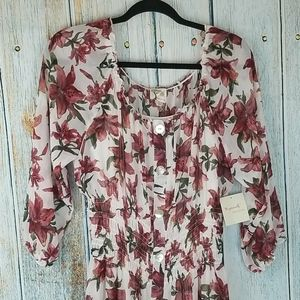 NWT FIG AND FLOWER FLORAL MAXI DRESS
